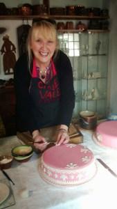 Martine decorating Twelfth Cake at    www.historicfood.com